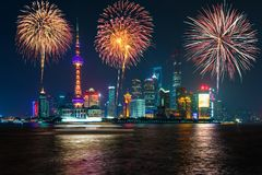 Fireworks in Shanghai, China celebration National Day of the Peo. Ple`s Republic of China royalty free stock photography