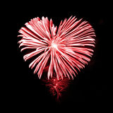 Fireworks in the shape of a heart. Red fireworks in the shape of a heart Royalty Free Stock Photos
