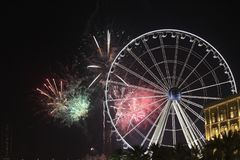 Fireworks in sharjah. Fireworks with ferris wheel in Sharjah Royalty Free Stock Photo