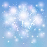 Fireworks shine on blue background Royalty Free Stock Photos