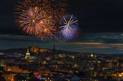 Fireworks Shining over Edinburgh City Royalty Free Stock Photo