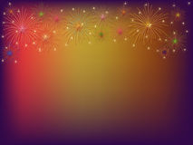 Fireworks. Shining fireworks over purple background Royalty Free Stock Photo