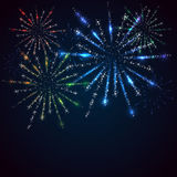Fireworks. Shiny stars and fireworks on blue background, illustration Royalty Free Stock Photography