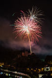 Fireworks show above the castle of Bouillon in Belgium Royalty Free Stock Image