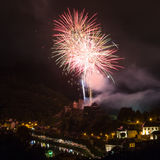 Fireworks show above the castle of Bouillon in Belgium Royalty Free Stock Images