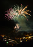 Fireworks show above the castle of Bouillon in Belgium Stock Photos