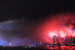 Fireworks show along Victoria harbor Royalty Free Stock Photography