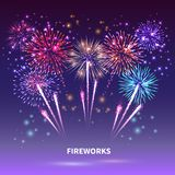 Fireworks Show Background Composition. Fireworks composition with colourful images of shiny firework spots of different shape on gradient background vector Stock Photos