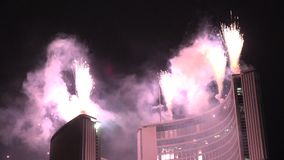 Fireworks show Cavalcade of Lights at Nathan Phillip Square in Toronto stock video footage