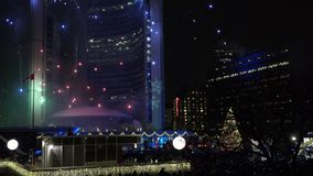 Fireworks show Cavalcade of Lights at Nathan Phillip Square in Toronto stock video