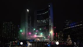 Fireworks show Cavalcade of Lights at Nathan Phillip Square in Toronto stock footage