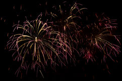 Fireworks show. Celebrating the New Years Eve with colorful fireworks show Royalty Free Stock Photos