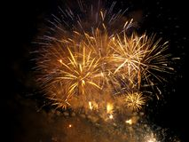 Fireworks show. Closing ceremony with colours fireworks Royalty Free Stock Image