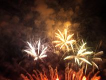 Fireworks show. Closing ceremony with colours fireworks Royalty Free Stock Images