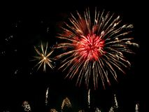 Fireworks show. Closing ceremony with colours fireworks Royalty Free Stock Photography