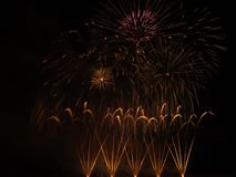 Fireworks show. Closing ceremony with colours fireworks Stock Image