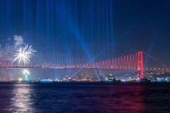 Fireworks show in Istanbul Bosphorus. Turkey. Stock Images