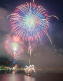 Fireworks Show at Night. Red and Blue Fireworks at Night Time Launched from a Ship Stock Photography
