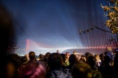 Fireworks show  over the Bosporus Bridge. Crowd watch  fireworks show over the Istanbul City View of Bosporus Bridge Stock Photos