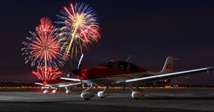 Fireworks show over Cedar City Airport. July 4th fireworks show over Cedar City Regional Airport with two aircraft in the foreground Stock Photography