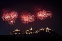 Fireworks show over Phra Nakhon Khiri Historical Park Khao Wang stock image