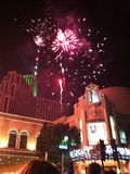 Fireworks show over silver legacy casino in Reno Nevada. Fireworks show at hot August nights over silver legacy casino night Royalty Free Stock Photo