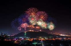 Fireworks show at  Phranakorn Khiri palace for celebration. Phetchaburi, Thailand Royalty Free Stock Images