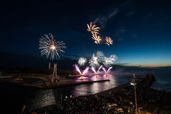 The fireworks  show in Ustka Stock Photos