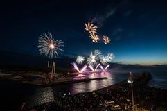 The fireworks show in Ustka. Any year Ustka city organization fireworks show stock photos