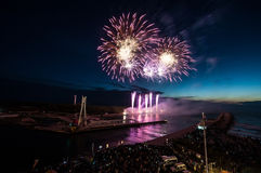 The fireworks  show in Ustka Royalty Free Stock Photography