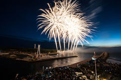 The fireworks  show in Ustka. Any year Ustka city organization fireworks show Stock Photography