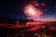 The fireworks  show in Ustka. Any year Ustka city organization fireworks show Royalty Free Stock Photography