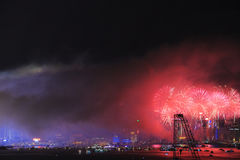 Fireworks show at Victoria harbor in Hong Kong Royalty Free Stock Images
