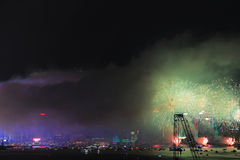 Fireworks show at Victoria harbor in Hong Kong Royalty Free Stock Photo