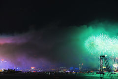 Fireworks show at Victoria harbor in Hong Kong Royalty Free Stock Image