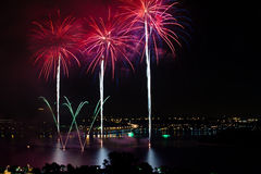 Fireworks showcase on water Stock Photos