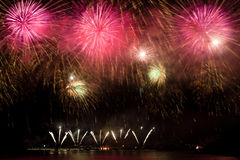 Fireworks showcase on water Royalty Free Stock Photo