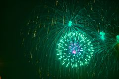 Fireworks showing as bursting stars. stock images