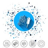 Fireworks sign icon. Explosive pyrotechnic show. Button on circles background. Fireworks with rocket sign icon. Explosive pyrotechnic symbol. Calendar line icon Royalty Free Stock Image