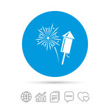 Fireworks sign icon. Explosive pyrotechnic show. Fireworks with rocket sign icon. Explosive pyrotechnic symbol. Copy files, chat speech bubble and chart web Royalty Free Stock Photos