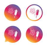 Fireworks sign icon. Explosive pyrotechnic show. Fireworks with rocket sign icon. Explosive pyrotechnic symbol. Gradient buttons with flat icon. Speech bubble Royalty Free Stock Photo