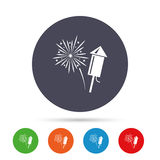 Fireworks sign icon. Explosive pyrotechnic show. Fireworks with rocket sign icon. Explosive pyrotechnic symbol. Round colourful buttons with flat icons. Vector Royalty Free Stock Image