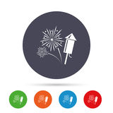 Fireworks sign icon. Explosive pyrotechnic show. Fireworks with rocket sign icon. Explosive pyrotechnic symbol. Round colourful buttons with flat icons. Vector Stock Photo