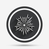 Fireworks sign icon. Explosive pyrotechnic show. Fireworks sign icon. Explosive pyrotechnic show symbol. Circle flat button with shadow and border. Vector Royalty Free Stock Image