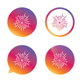 Fireworks sign icon. Explosive pyrotechnic show. Fireworks sign icon. Explosive pyrotechnic show symbol. Gradient buttons with flat icon. Speech bubble sign Stock Photography