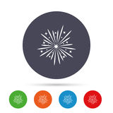 Fireworks sign icon. Explosive pyrotechnic show. Fireworks sign icon. Explosive pyrotechnic show symbol. Round colourful buttons with flat icons. Vector Stock Photography