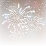 Fireworks on silver background Stock Images
