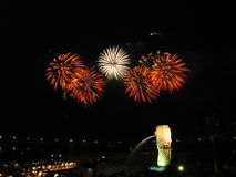 Fireworks in singapore. This is a picture of a fireworks display in front of the singapore marina bay. This is also the location directly in front of the future Royalty Free Stock Photography