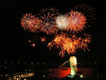 Fireworks at Singapore Merlion Stock Photography