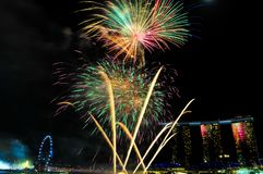 Fireworks in Singapore National Day, new year celebration, night sky Singapore. Fireworks in Singapore National Day. Singapore city by the night sky. Colorful royalty free stock images